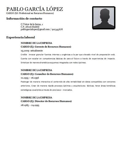 Plantilla curriculum vitae 4